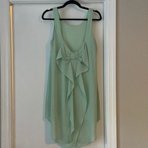 Green Party Dress - Bow Swoop Back